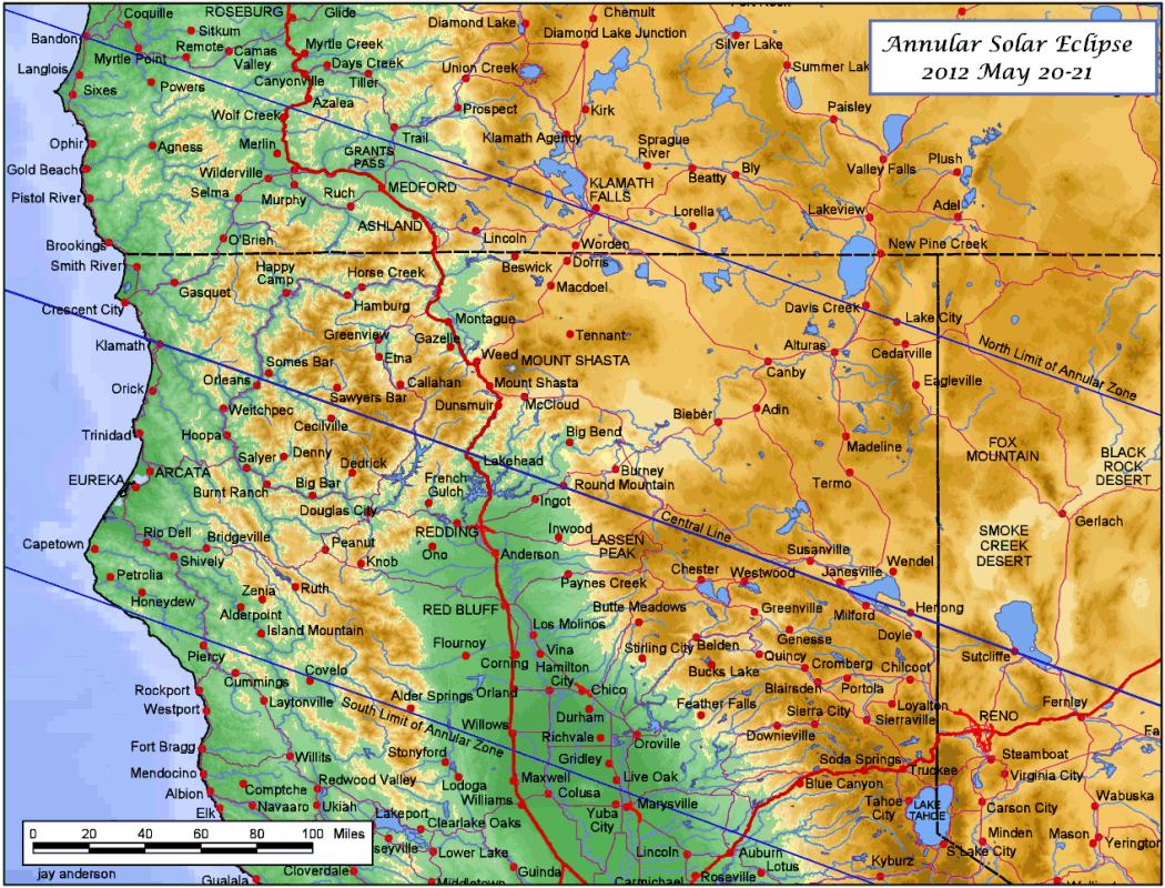 Karte Usa Westen.Ringförmige Sonnenfinsternis Am 20 05 2012